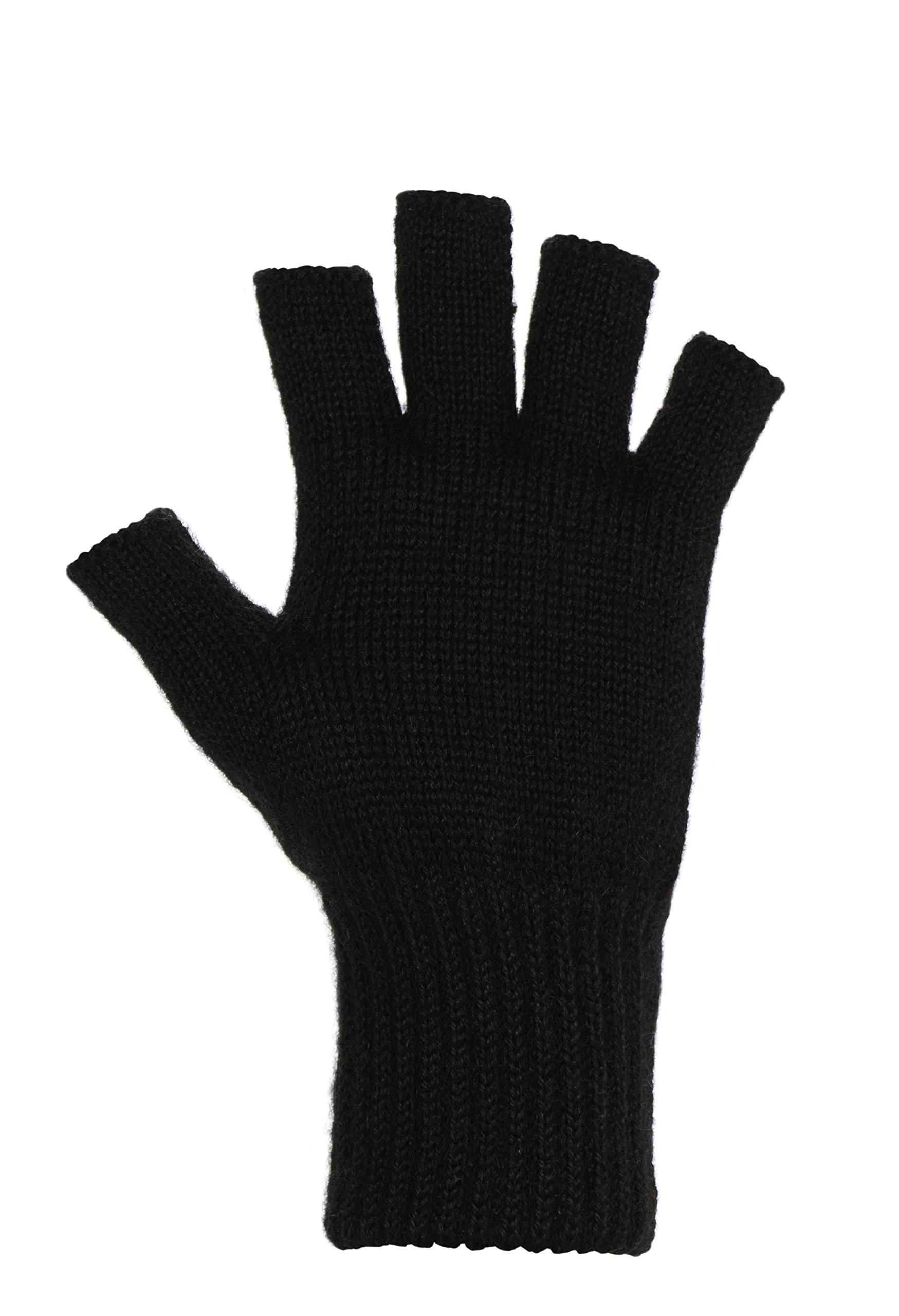 DARN WARM Alpaca FINGERLESS Gloves - BEST NATURAL SOLUTION for COLD HANDS - Black