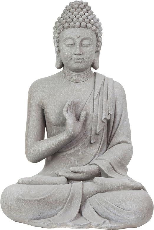 Grande 73 cm gris claro Aspecto de Piedra Fibreclay adorno de jardín de la Estatua de Buda sentado: Amazon.es: Jardín