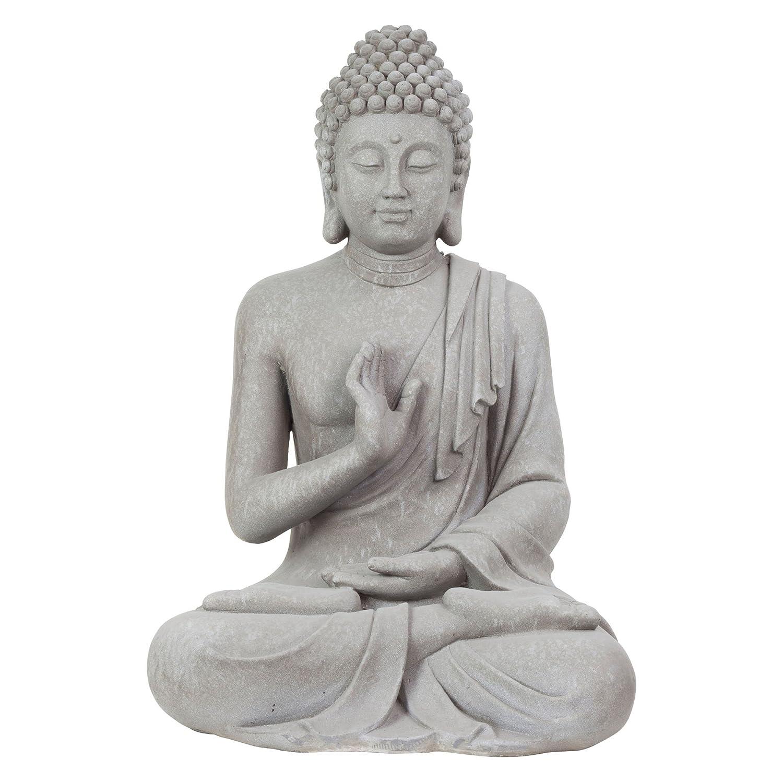 large 73cm light grey stone look fibreclay sitting buddha garden statue ornament amazoncouk kitchen u0026 home