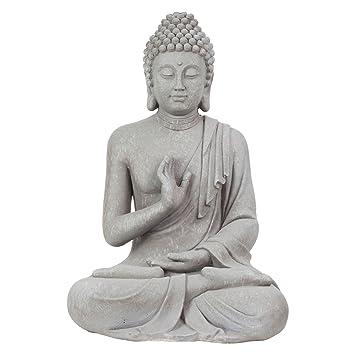Large 73cm Light Grey Stone Look Fibreclay Sitting Buddha Garden Statue  Ornament