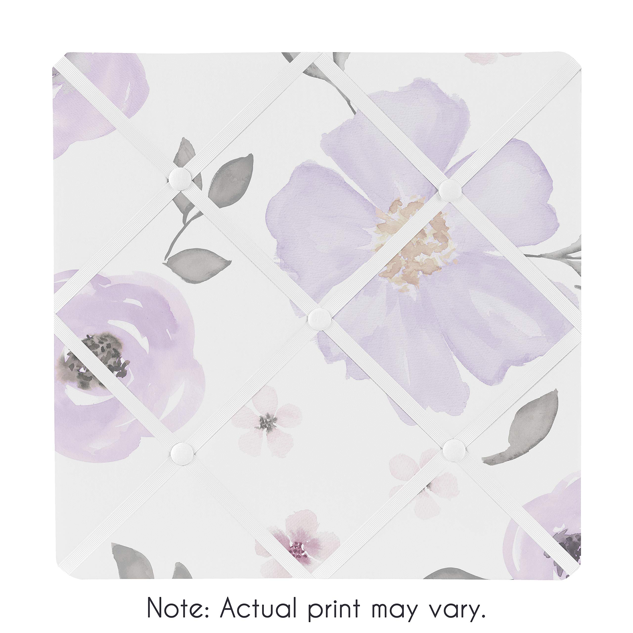 Sweet Jojo Designs Lavender Purple, Pink, Grey and White Fabric Memory Memo Photo Bulletin Board for Watercolor Floral Collection - Rose Flower by Sweet Jojo Designs