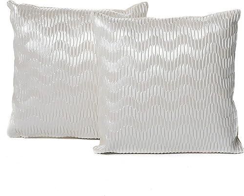 Christopher Knight Home Rakel Faux Leather Posh Pillows, 2-Pcs Set, White