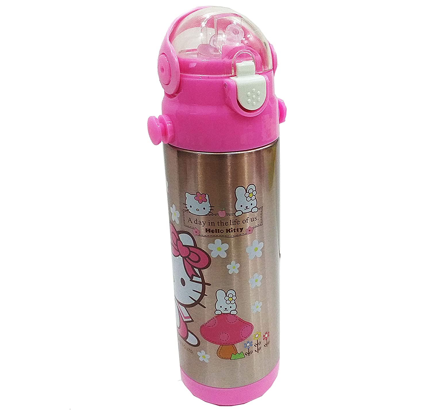 01d6b5472 Buy Dhinchak Cat Print Plastic and Stainless Steel Water Bottle with Child  Safety Lock