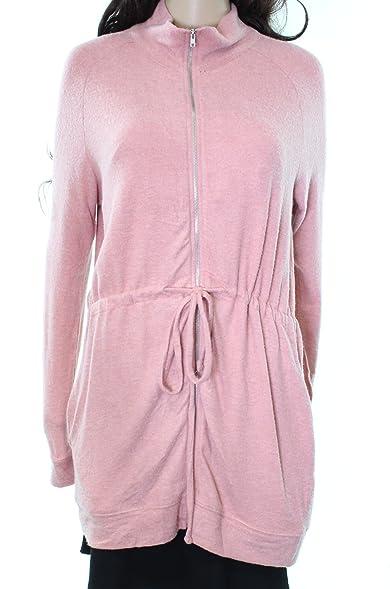 Yumi Women's Medium Full Zip Drawstring Tunic Sweater Pink M at ...
