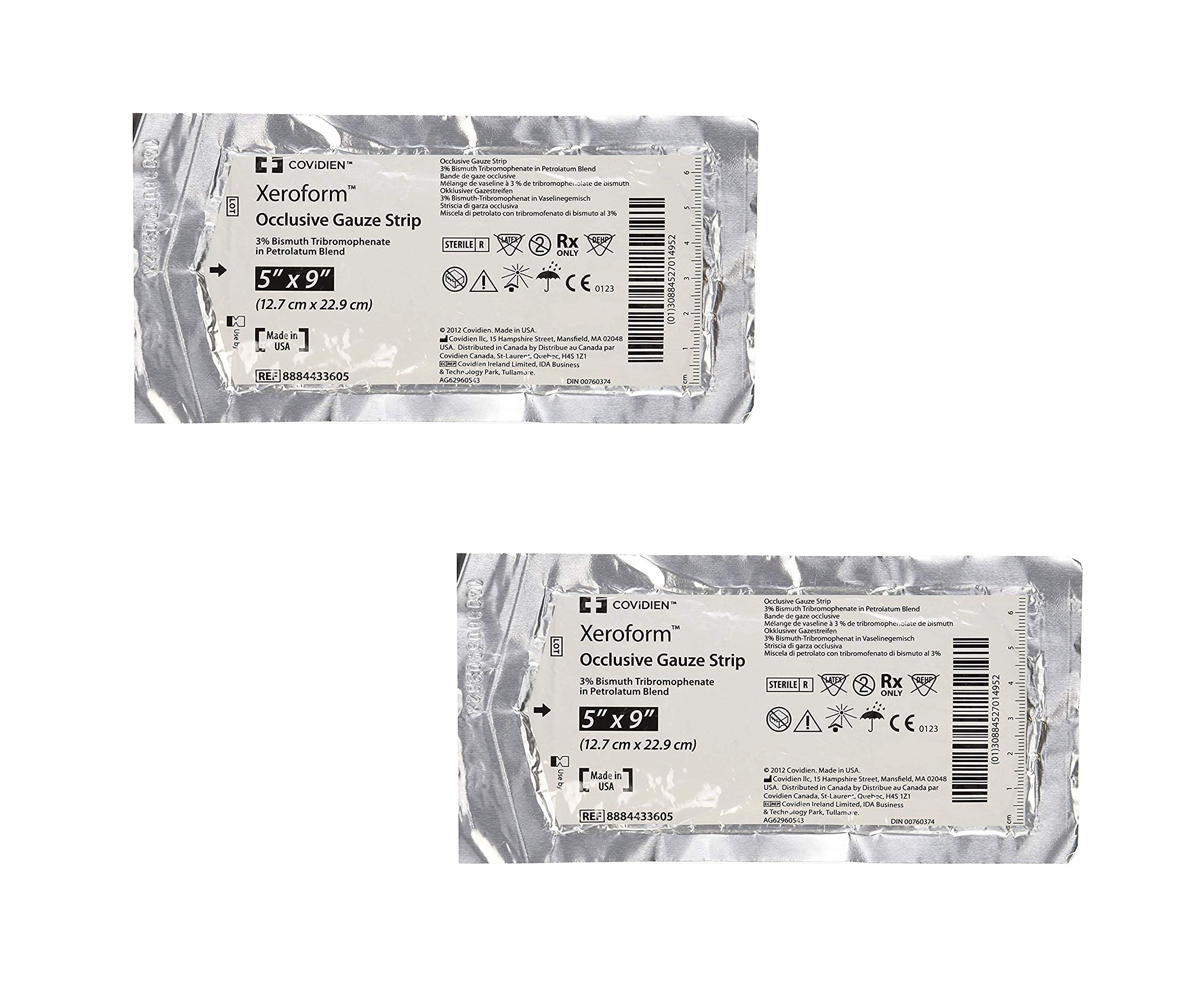 DSS Xeroform Occlusive Petrolatum Gauze Strip, 5'' X 9'', 50 Count (2 Pack)