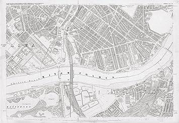 Pimlico London Map.London 1872 Ordnance Survey Map Poster Sheet Liv Pimlico Size