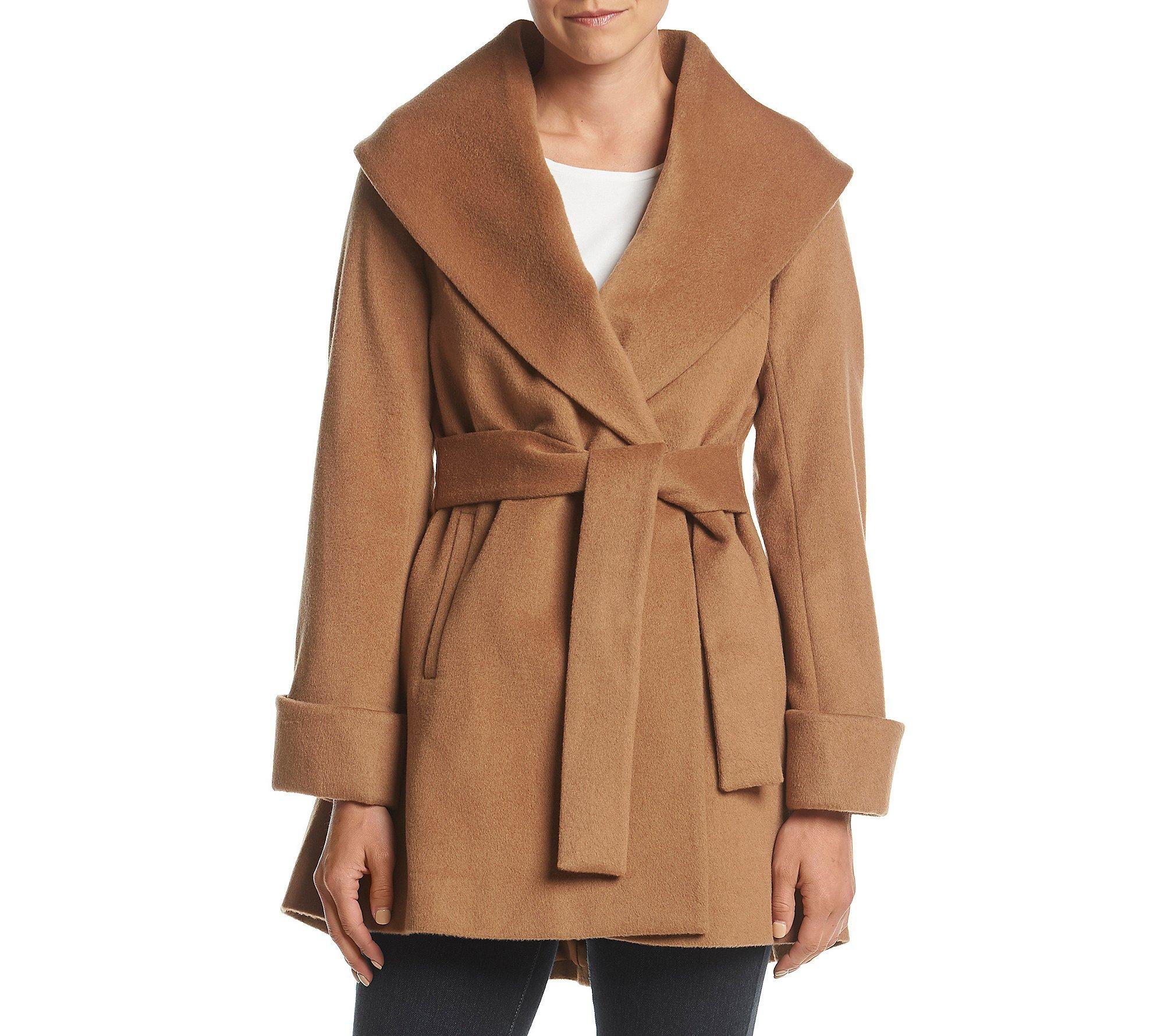 Trina Turk Asymmetric Shawl Collar Wrap Jacket Camel 4