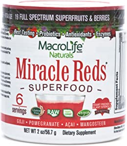 Miracle Reds Superfood - Super Red Powder - Non Allergenic Proprietary Fruit Blend - Anti Aging Anti Oxidants - Polyphenols & Heart Friendly Plant Sterols - Delicious & Nutritous - Non GMO - Vegan - Gluten & Dairy Free - Berry Taste - 2 oz. (56.7 g)