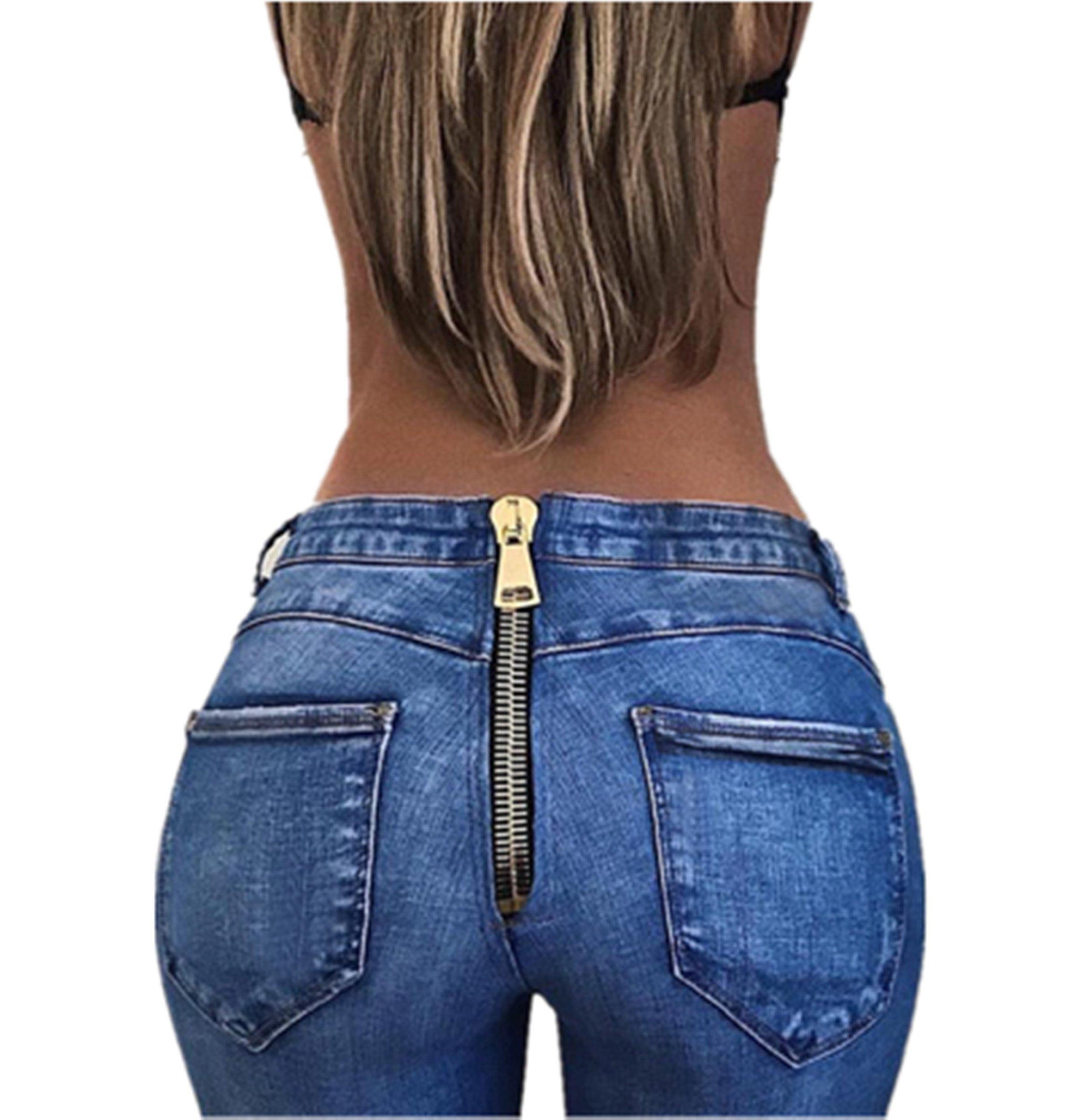 VIGVOG High Waist Jeans For Women Back Zipper Skinny Pencil Denim Pants Elastic Stretched Trousers
