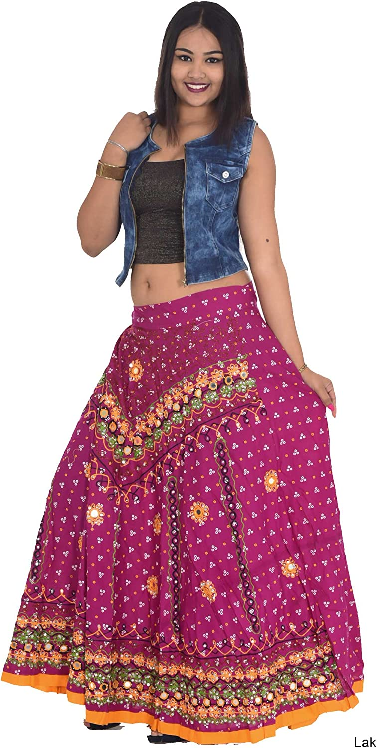Women/'s Blue Color Animal  and Floral Print Cotton Free Size Block Print Indian Traditional Skirt