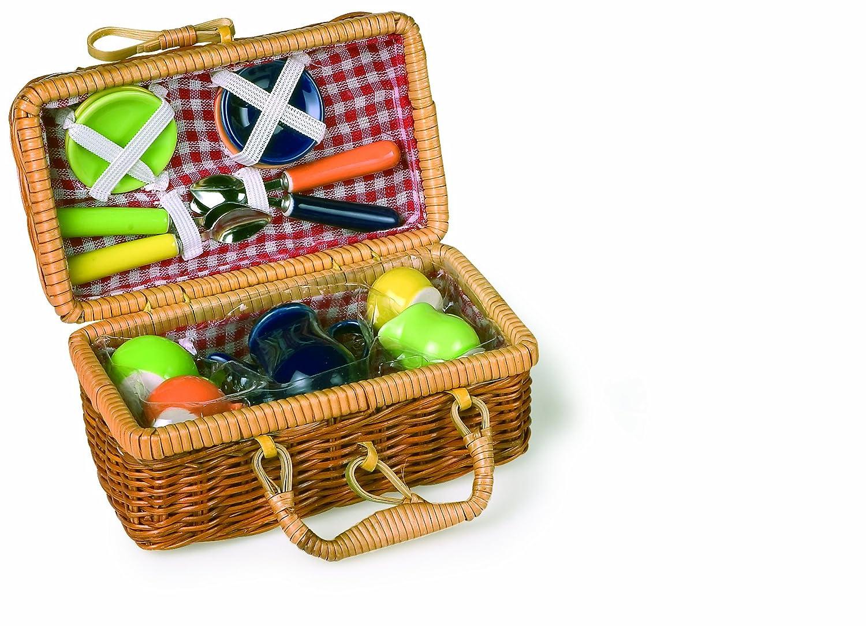 Picknickkorb mit buntem Puppengeschirr aus Keramik, mit einem schönen Rattankorb und stabilem Tragegriff, für ein Picknick im Grünen small foot company 2020991