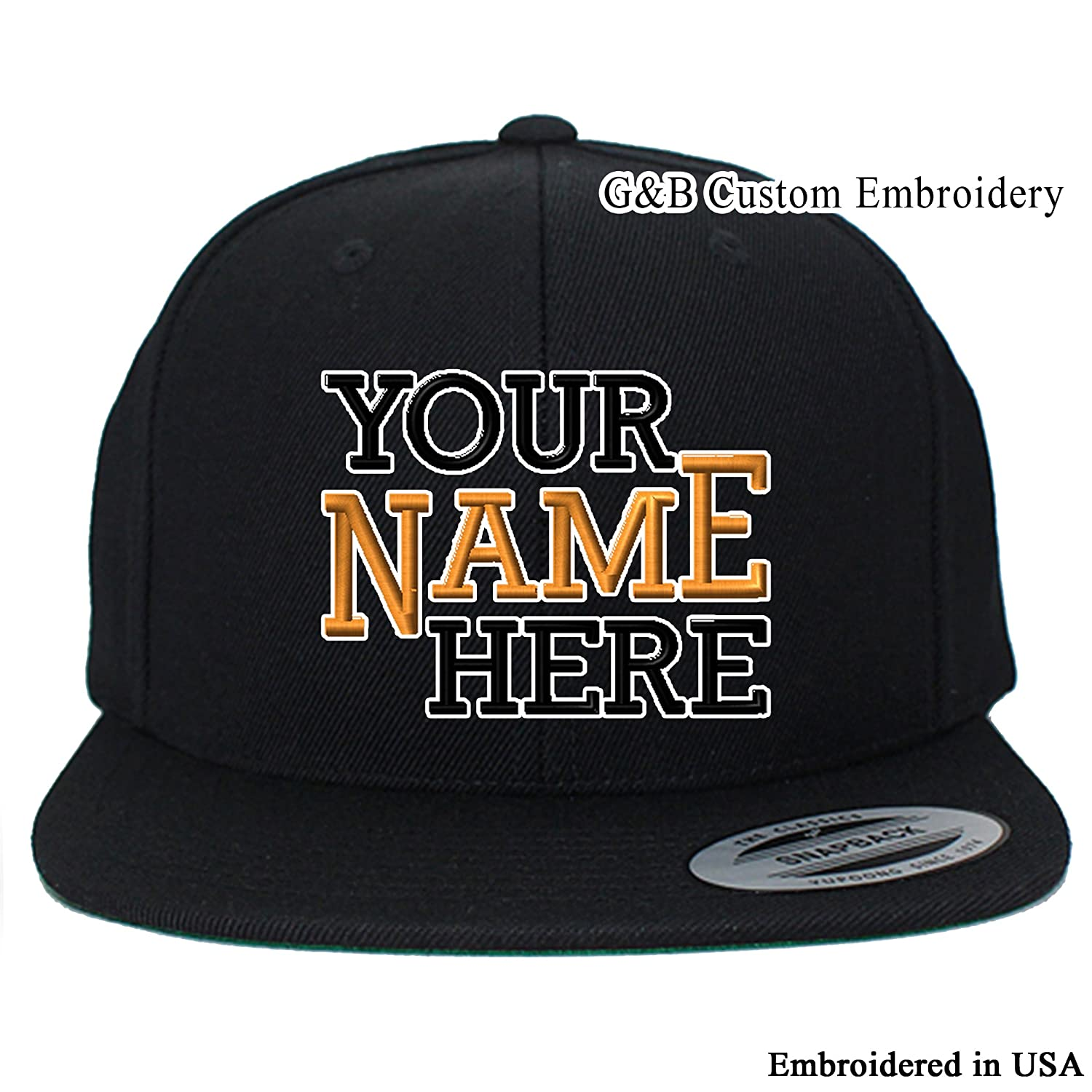Amazon.com  Yupoong Custom Hat. 6089M Snapback. Embroidered. Place Your Own  Text or Company Name (Black)  Clothing 4e7c07db47e