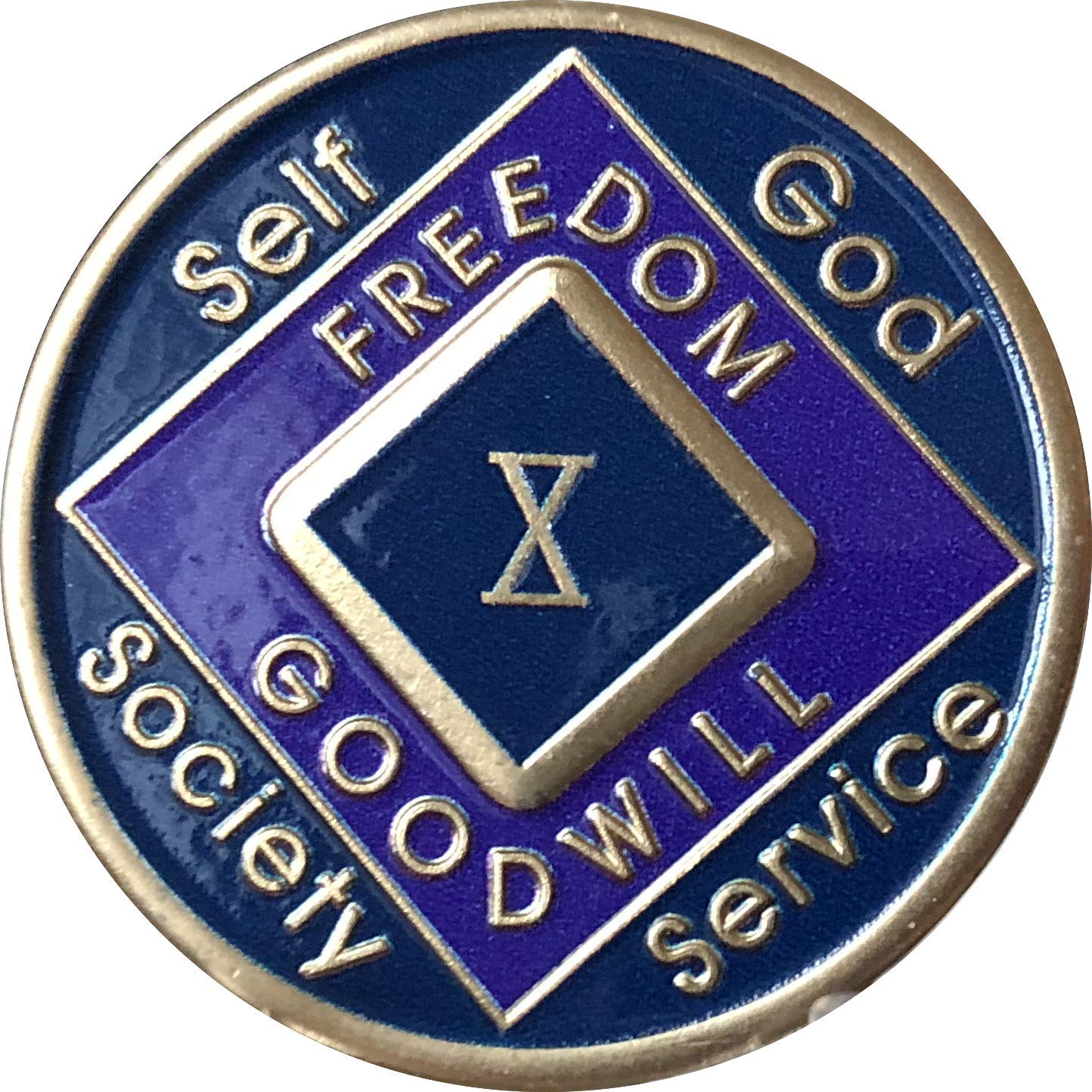 10 Year Blue and Purple NA Medallion Official Narcotics Anonymous Chip