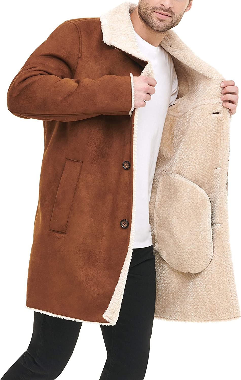 DKNY Mens Shearling Walking Coat with Faux Fur Collar