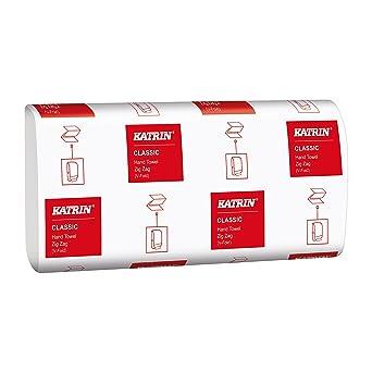 Katrin 362002 básica calidad intercalada Zig Zag toallas de mano, 1 capa, color blanco