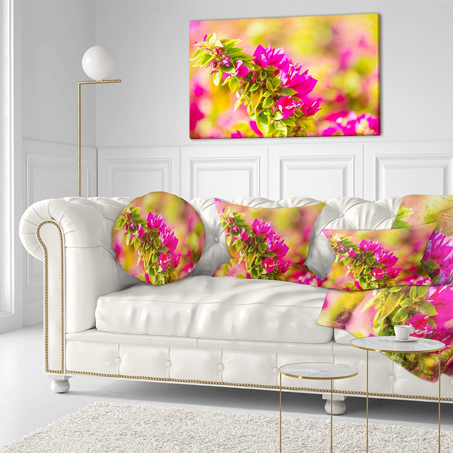 Insert Printed On Both Side Sofa Throw Pillow 20 Designart CU12418-20-20-C Beautiful Pink Bougainvillea Flowers Floral Round Cushion Cover for Living Room