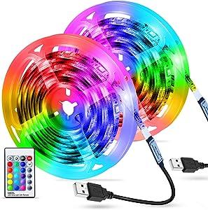 OMERIL LED Strip Lights, 6M/19.7ft 180 LED RGB USB Color Changing Led Light Strip, 16 Color & 4 Lighting Modes LED Tape Light with 24 Keys Remote Control, IP67 Waterproof Strip Lights for Bar Home
