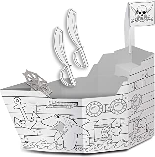 """product image for My Very Own House Cardboard Coloring Playhouse Pirate Ship, 49"""" H x 36"""" L x 55"""" W"""
