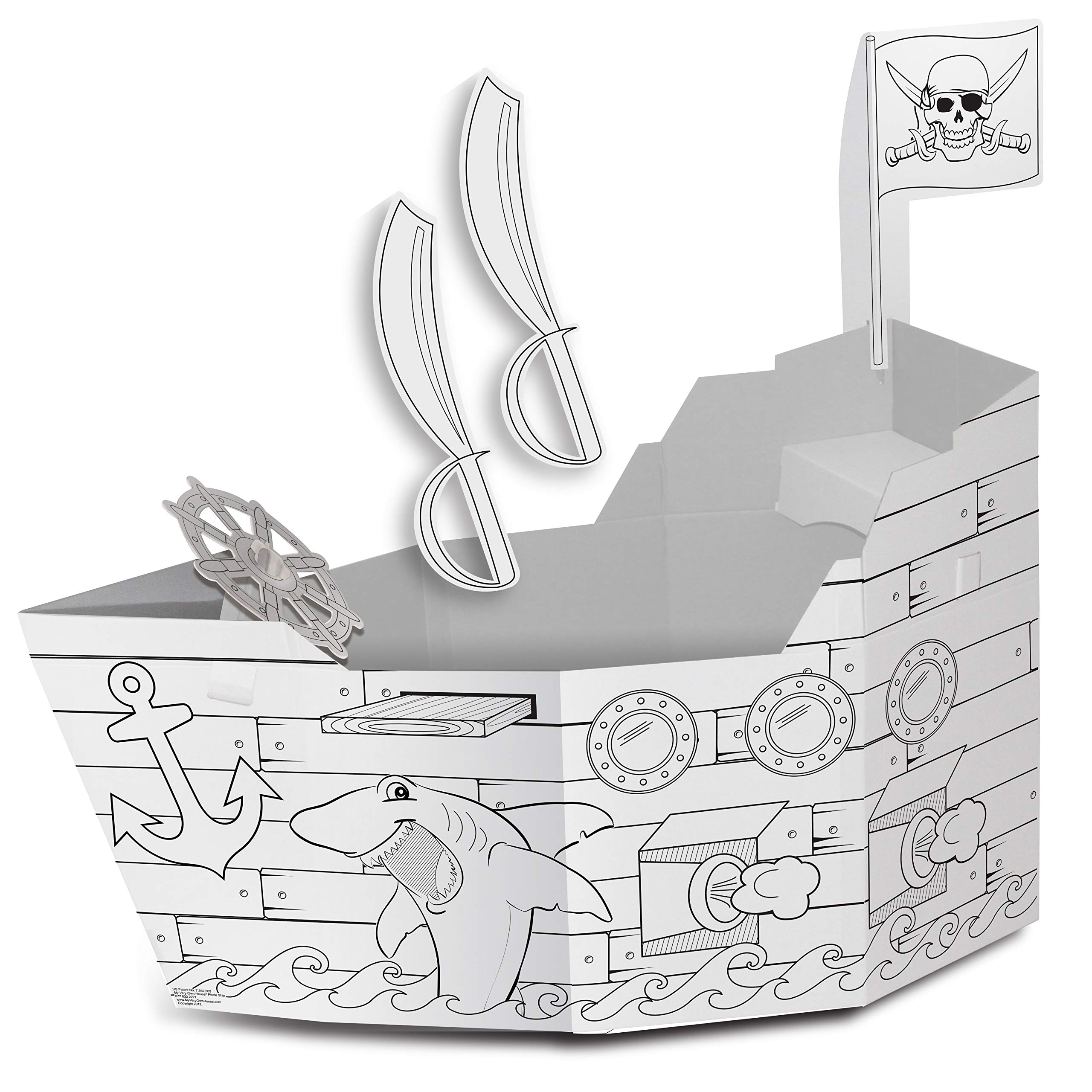 My Very Own House Cardboard Coloring Playhouse Pirate Ship, 49'' H x 36'' L x 55'' W