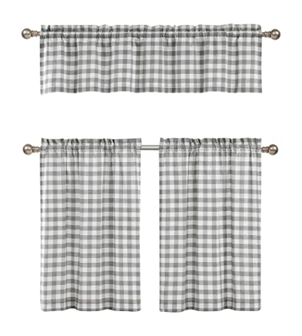 Grey White Kitchen Curtains: Checkered Plaid Gingham Design