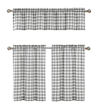 Grey White Kitchen Curtains: Checkered Plaid Gingham Design