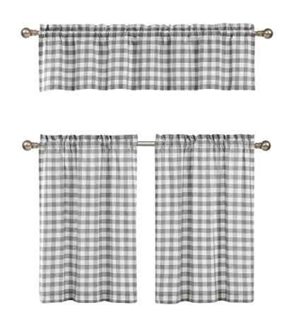 Black White Gingham Kitchen Curtains