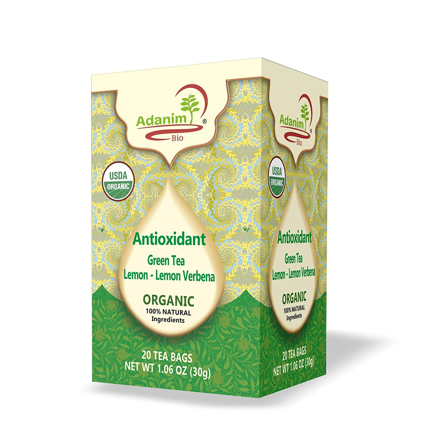 Adanim Bio Organic Green Tea With Lemon And Verbena Antioxidant Rich With Caffeine 20 Count Pack Of 4 80 Individual Enveloped Hot Tea Bags In Total Grocery Gourmet Food