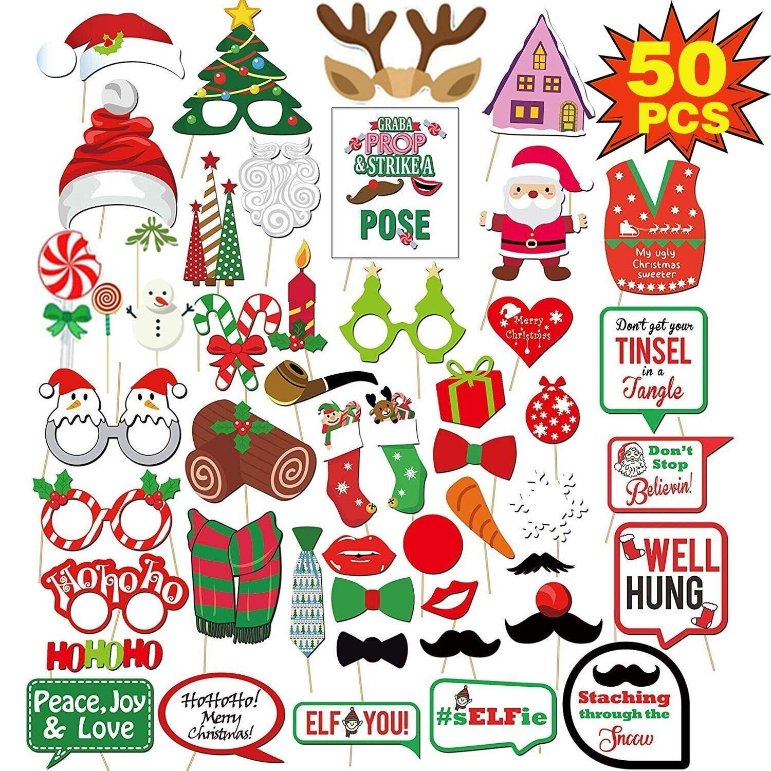 Amazoncom Woqoo 50pcs Christmas Photo Booth Props Happy Christmas