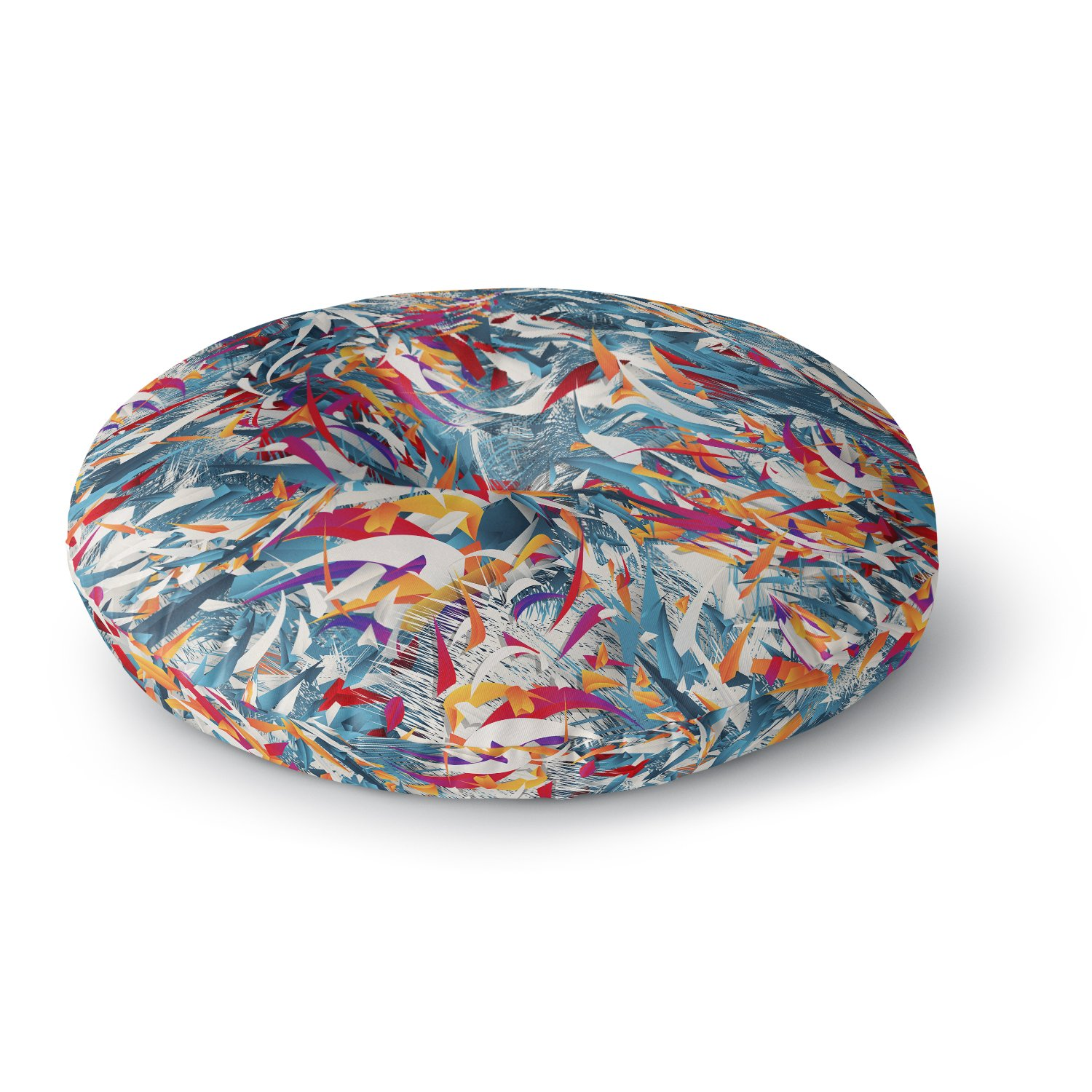 26 Round Floor Pillow Kess InHouse Danny Ivan Excited Colours Blue Abstract
