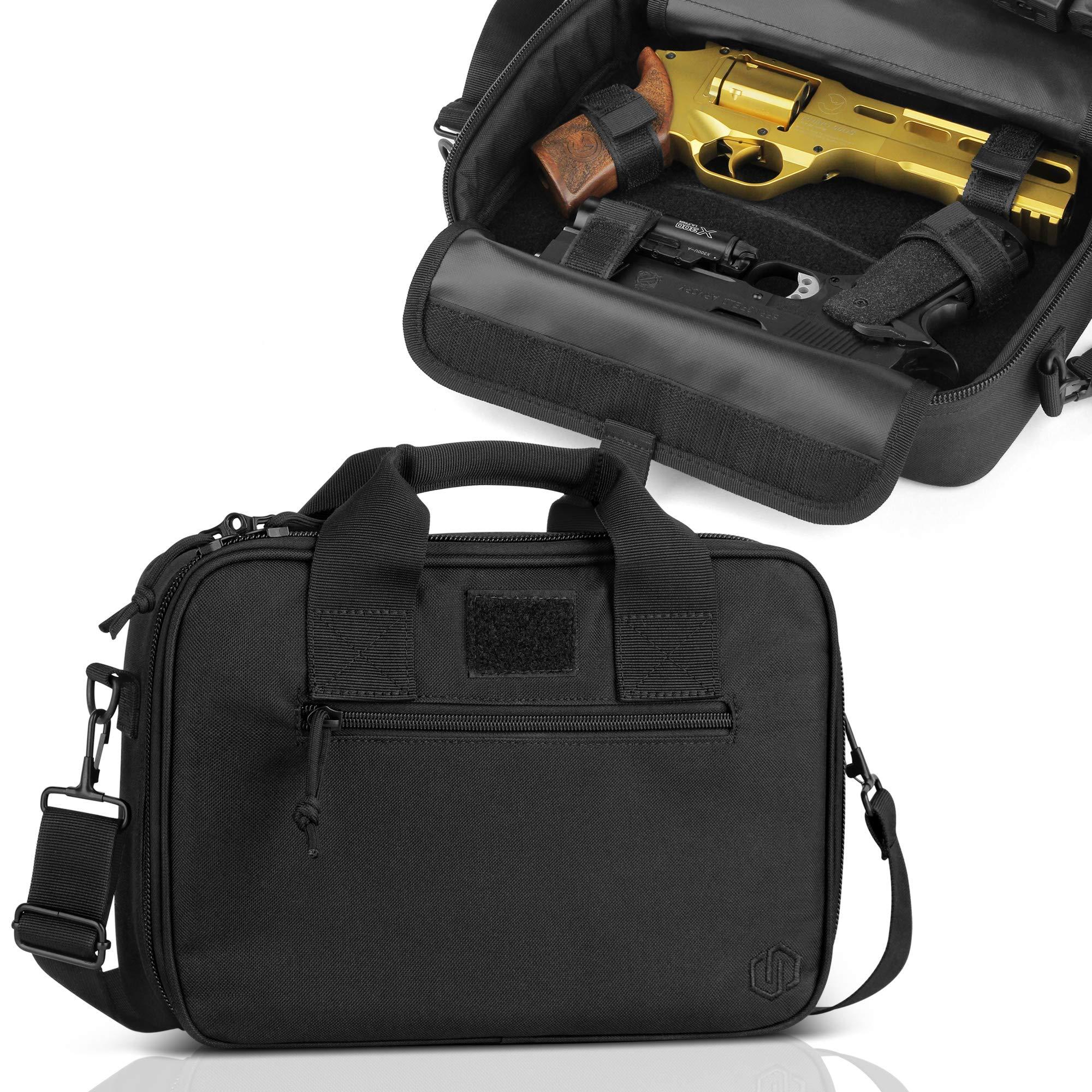 Savior Equipment Tactical Double Handgun Firearm Case Discreet Pistol Bag - Additional Magazine Storage Slots, Lockable Compartment w/Adjustable Shoulder Strap by Savior Equipment