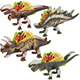 Funwares Dinosaur Taco Holders, Set of 4 Dino Taco Stands Feeds the Whole Family and Fold Flat for Compact Storage