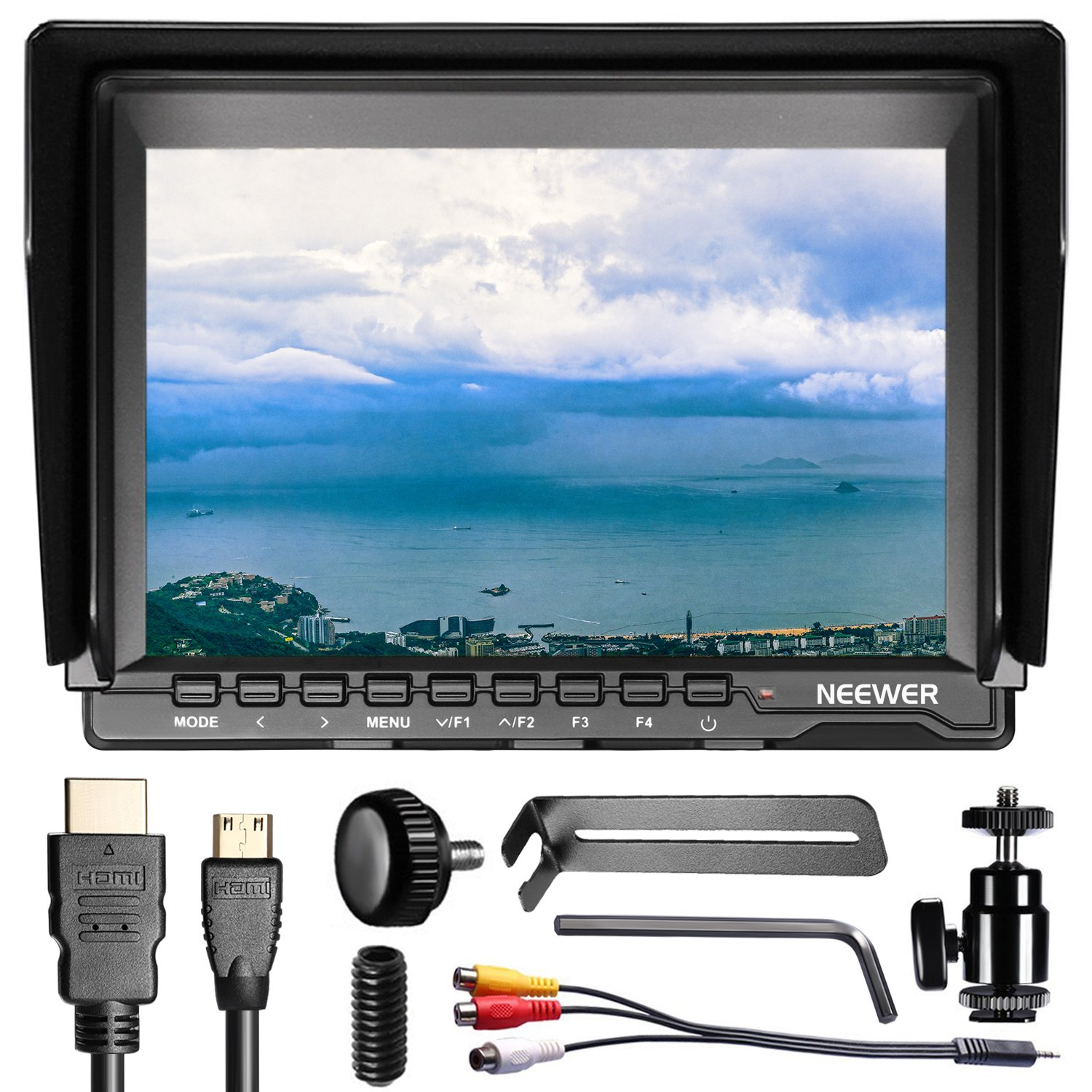 Neewer NW759(C) 7 inches 1280x800 IPS Screen Field Monitor with HDMI Cable for BMPCC AV Cable for FPV, Adjustable Display Ratio Work with lp-e6 for Sony Canon Nikon Battery (Battery Not Included)