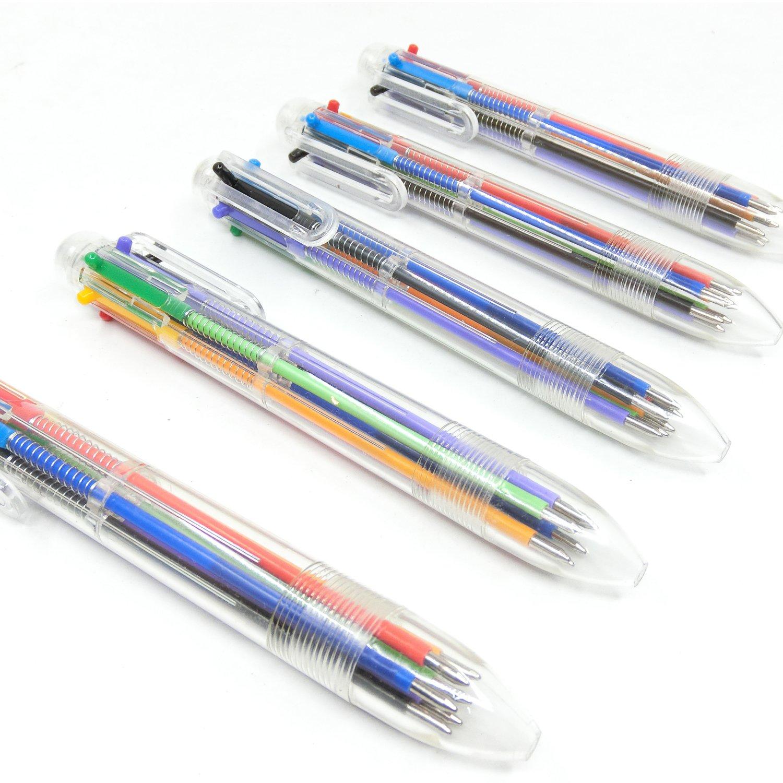 16 Pezzi Penna Multicolore 8-in-1 Penne a Sfera Retrattili 8 Colori Trasparente Barile Penna a Sfera per Ufficio Scuola Forniture Regalo di Studenti Bambini