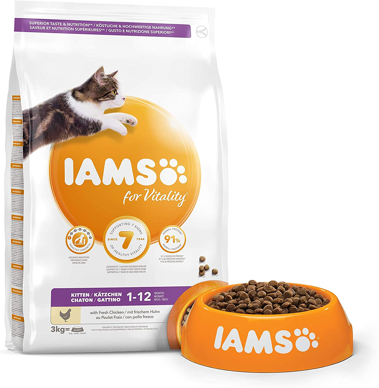 Iams For Vitality Dry Kitten Food With Fresh Chicken 3 Kg Amazon Co Uk Pet Supplies