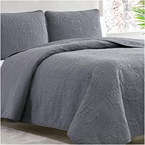 Mellanni Bedspread Coverlet Set Charcoal - Comforter Bedding Cover - Oversized 3-Piece Quilt Set (Full/Queen, Gray)