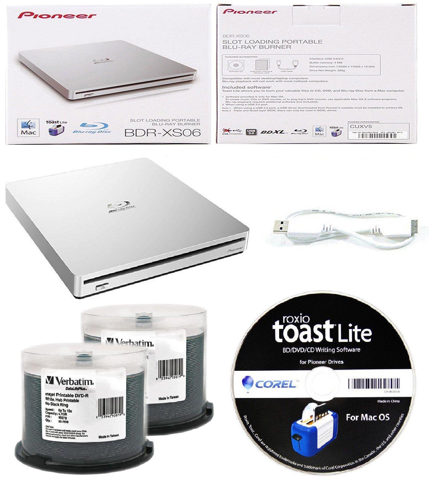Pioneer 6x BDR-XS06 Slim Slot Portable External Blu-ray BDXL Burner, Roxio Toast Lite Software and USB Cable Bundle with 100pk DVD-R Verbatim 4.7GB 16X DataLifePlus White Inkjet, Hub Printable