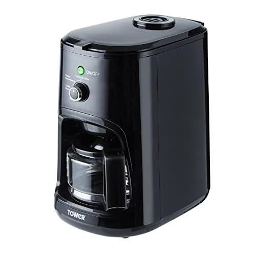 Tower T13005 Coffee Maker, Coarse and Fine Grinding Options, Black