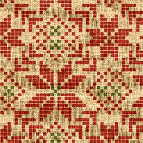 Amazon.com: Fair Isle Fabric Holiday Fair Isle In Christmas Burlap ...