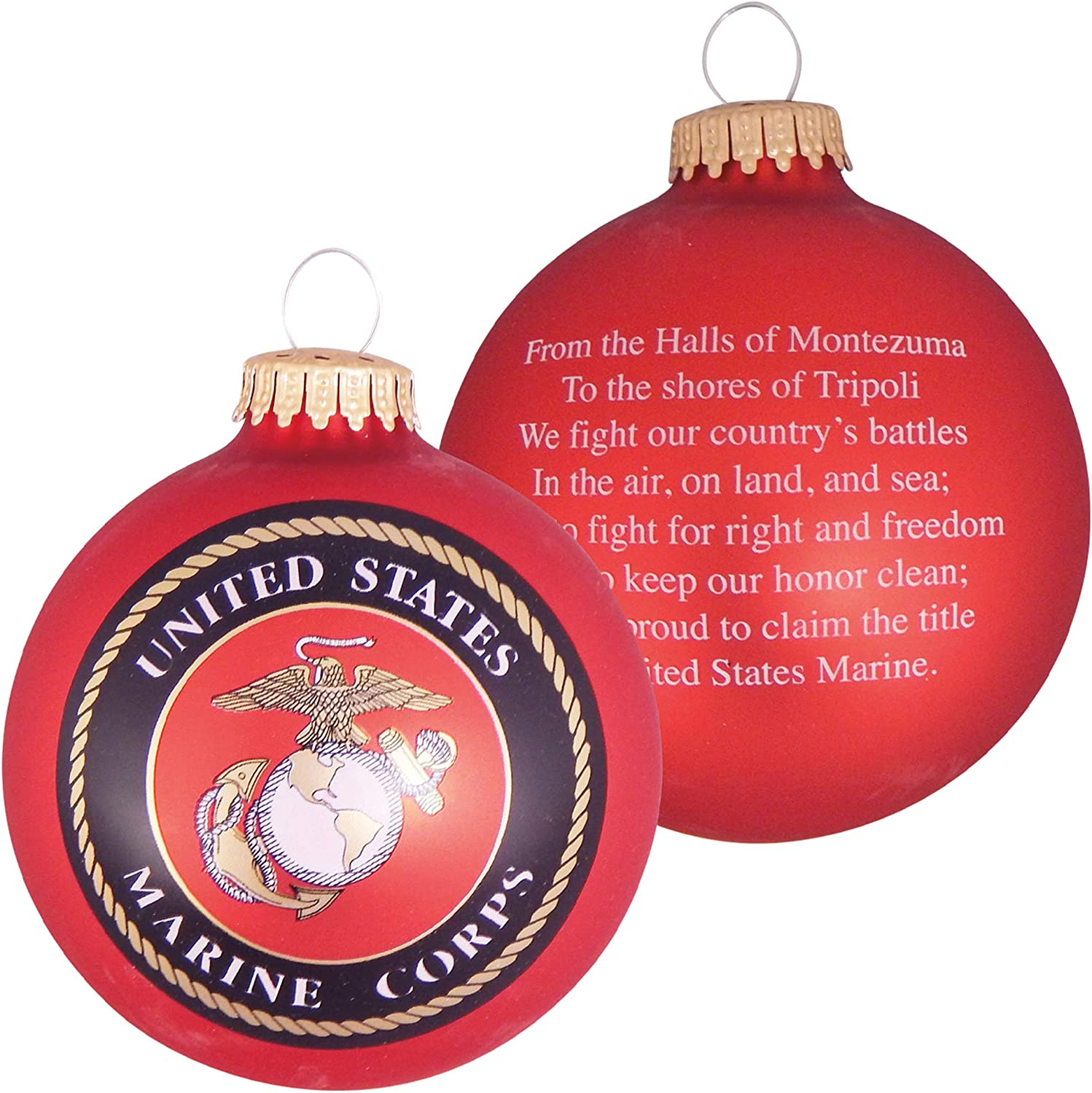 """Christmas by Krebs 3 1/4"""" (80mm) Made in the USA Designer Seamless Flame Red Military Patriotic Glass Christmas Ball Keepsake Ornament, Marine Corps"""
