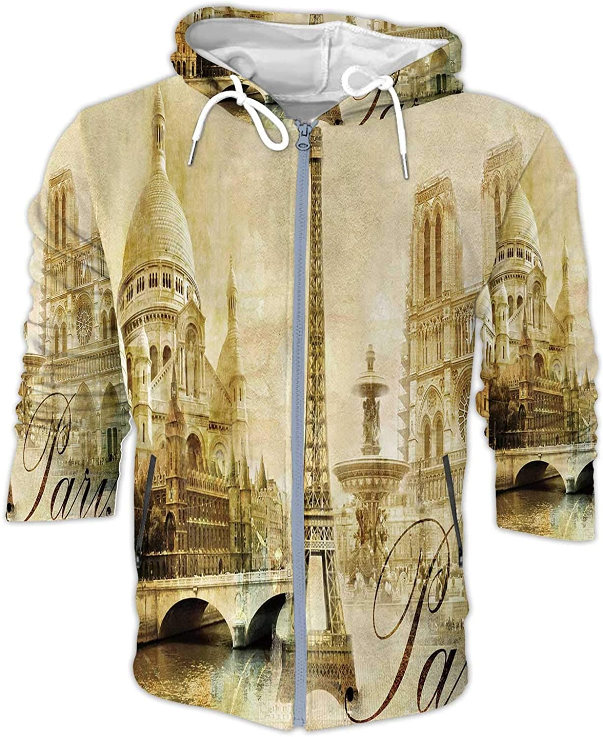 Old Beautiful Paris Artistic Clip-Art from My Series,Men's Windproof Jacket with Hood S