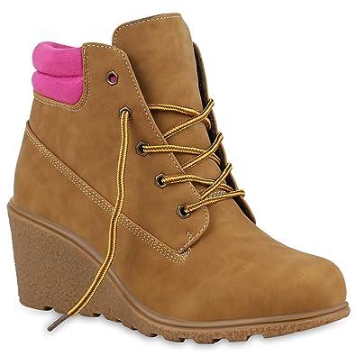 Damen Keilstifefeletten Worker Boots Wildleder-Optik Wedges Stiefeletten  Schnürstiefeletten Schuhe 123177 Hellbraun Pink 36 Flandell 89943046cf