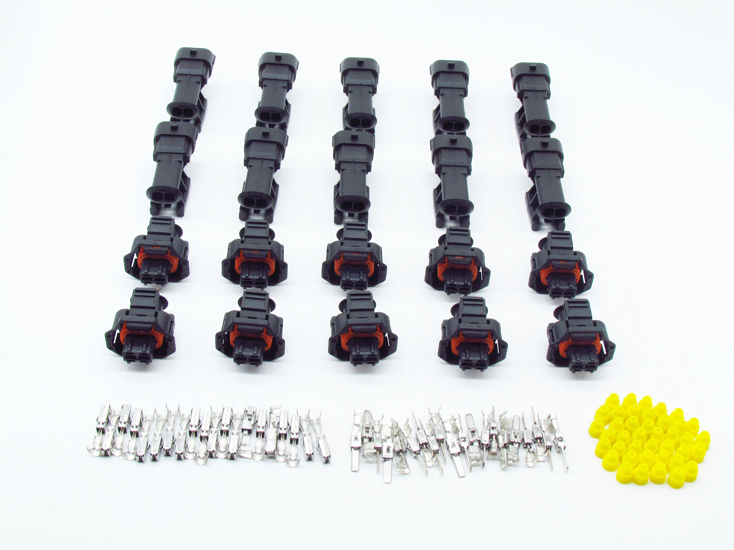 CNKF 10 Sets Bosch 3.5mm 2 pin male female diesel fuel Common rail injector and Crankshaft Sensor connector for VW Audi 1928403874