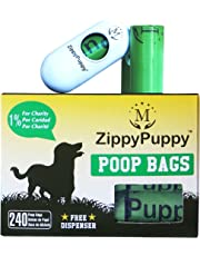 240 Biodegradable Dog Poop Bags with a Stylish Universal Dispenser ($5.99 Value Included) with 16 Refill Rolls. Bags are 15 Microns Thick and Strong. ZippyPuppy (Trademarked) Pet Pooper Scooper Bags are Large, Extra Strong and Earth Friendly. Doggie Waste Bags are 13x9 Inches (LxW) and 15 bags per Roll. Bag is Dark Green, Unscented, Leak-Proof, Perfect for all Poop Sizes, Easy to Open and Detach Bag from Roll in the Winter as well. Box made of Recycled Materials. Enjoy Pick-up Bags.
