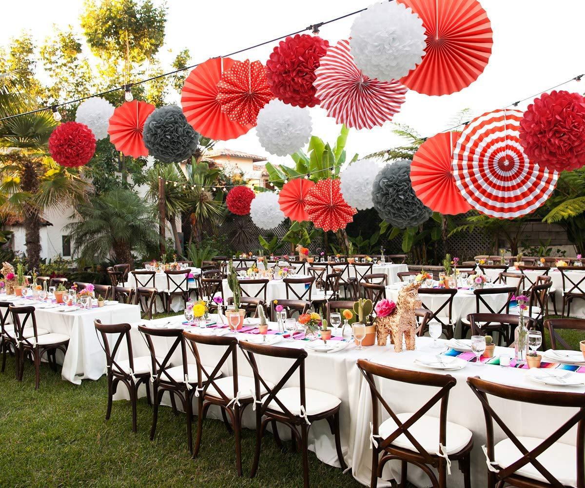KAEHA SUN-48-140515 Paper Poms Gris-Blanco-Beige Bola de Flores de Tejido para la Fiesta de cumplea/ños de la Boda