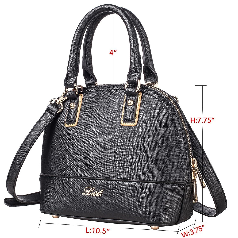 La Cle LA-060 Dome Satchel Crossbody Handbag