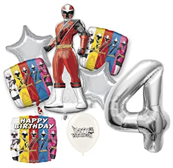 Amazon.com: Silver Number 4th Birthday Power Rangers Ninja ...