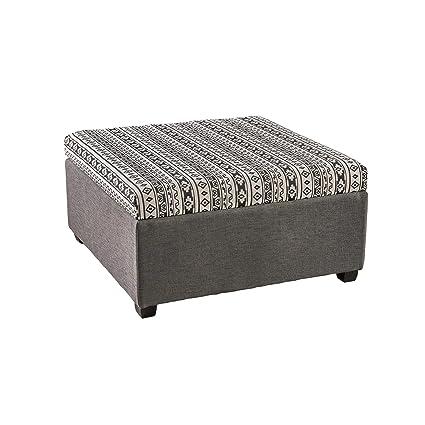 Amazoncom Malloy Fabric Storage Ottoman Black And White Print And
