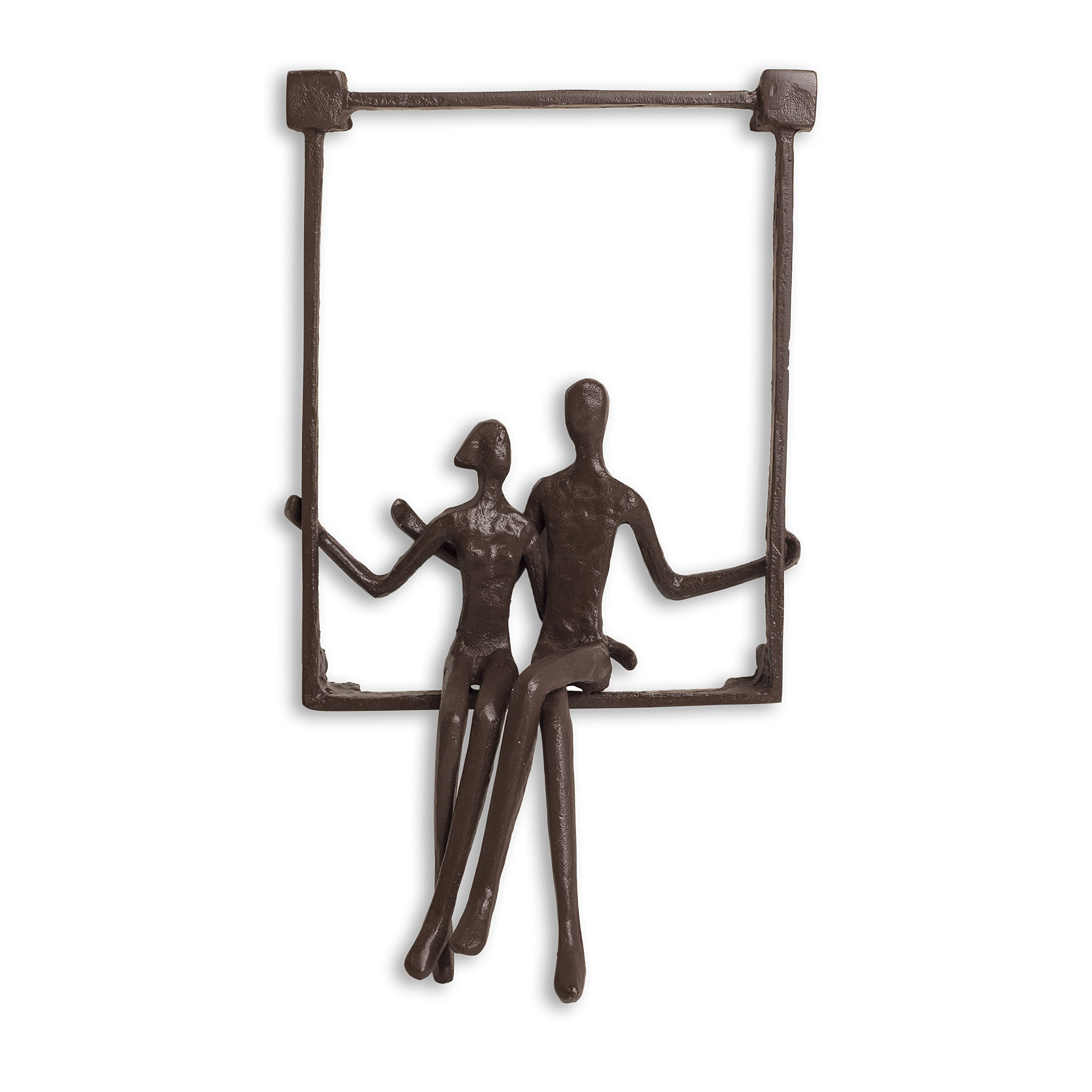 Danya B. ZI15214 Hanging Metal Wall Art Iron Sculpture - Couple Sitting on a Window Sill by Danya B