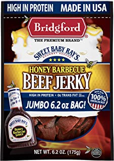 product image for Bridgford Sweet Baby Ray's Honey Barbecue Beef Jerky, High Protein, Zero Trans Fat, Made With 100% American Beef, 6.2 Oz, Pack of 3