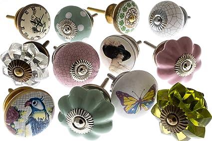 Pomelli Per Credenza Vintage : Pomelli manopole stile vintage in ceramica set mix x 12 pezzi mg